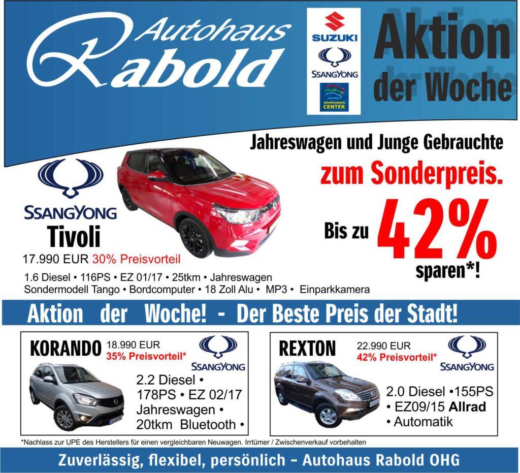 Detailseite Aktion der Woche, bis zu 42% sparen - Autohaus Rabold Gera.